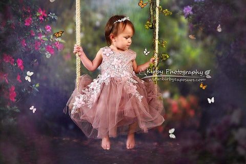 Kate Pink Floral Garden Fairy Lights spring Backdrop for Photography Designed by Pine Park Collection