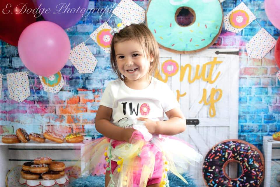 Load image into Gallery viewer, Katebackdrop£ºKate White Door Balloons Banner Donut Grow Up Birthday Children Backdrop