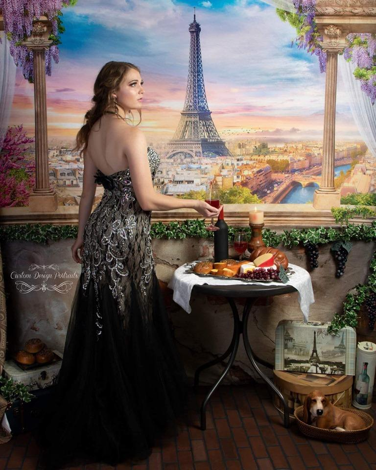 Kate Colored Flower Flowers Backdrop Eiffel Tower Paris City