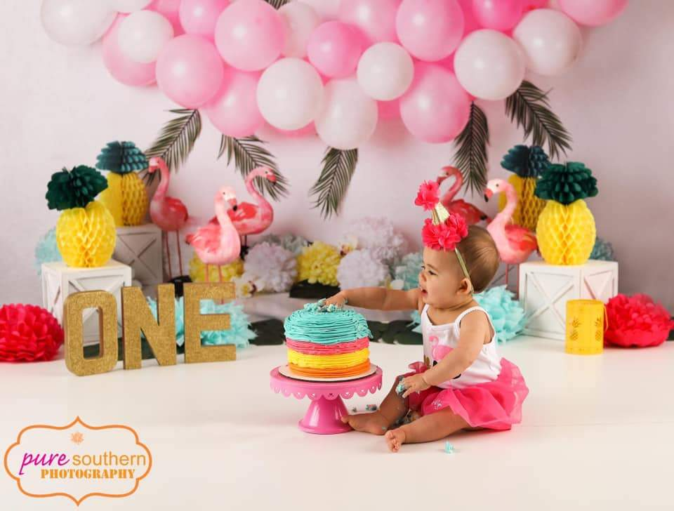 Load image into Gallery viewer, Katebackdrop£ºKate Balloons Flowers Flamingo Summer Backdrop for Photography Designed by Mandy Ringe Photography