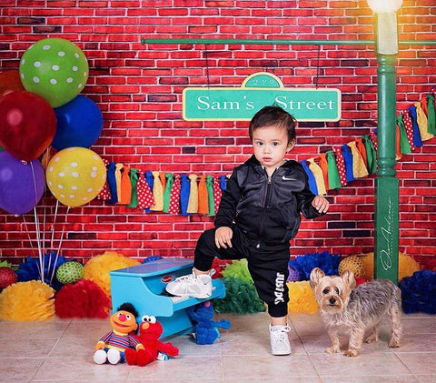 Kate Brick Wall with Colorful Balloons Sesame Street Backdrop Design by Shutter Swan Studios