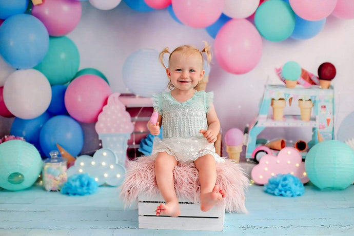 Katebackdrop:Kate Ice Cream with Balloons Children Backdrop for Photography Designed by Megan Leigh Photography