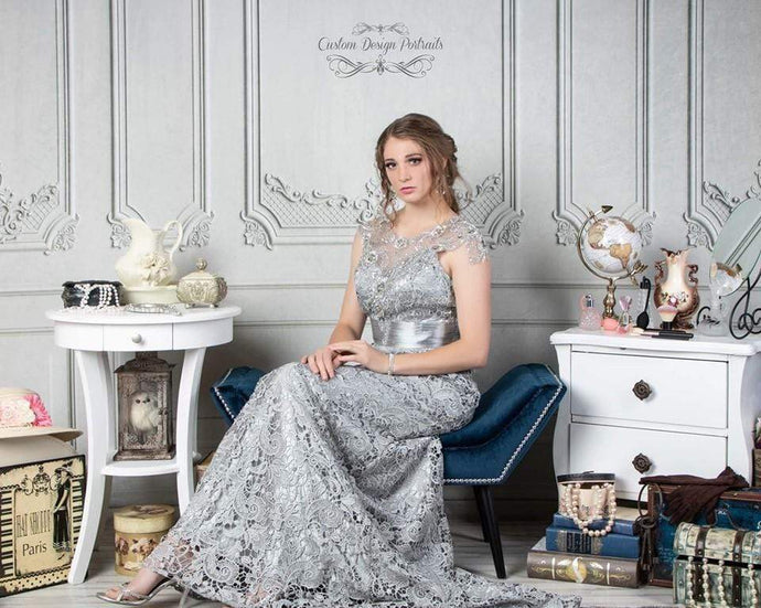 Kate White Vintage Wall with Dressing Table Backdrop for Photography Designed by Lisa Olson