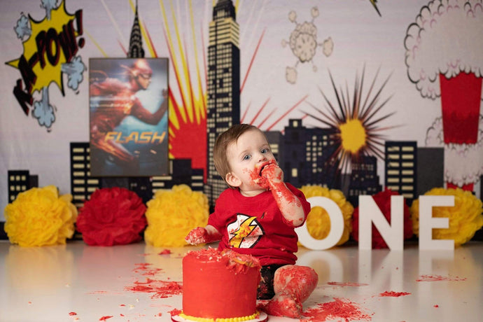 Katebackdrop:Kate Pow Children Super Hero City Photography Backdrops