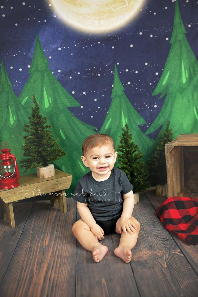Load image into Gallery viewer, Katebackdrop:Kate Christmas Farm Night with Moon Backdrop Designed By Jerry_Sina