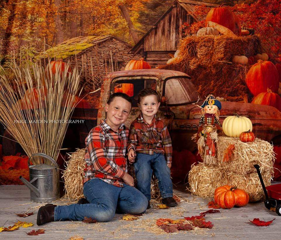 Katebackdrop:Kate Autumn Maple Forest With Pumpkins And Old Truck for Photography