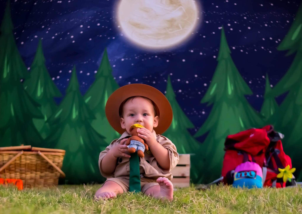 Katebackdrop:Kate Christmas Farm Night with Moon Backdrop Designed By Jerry_Sina