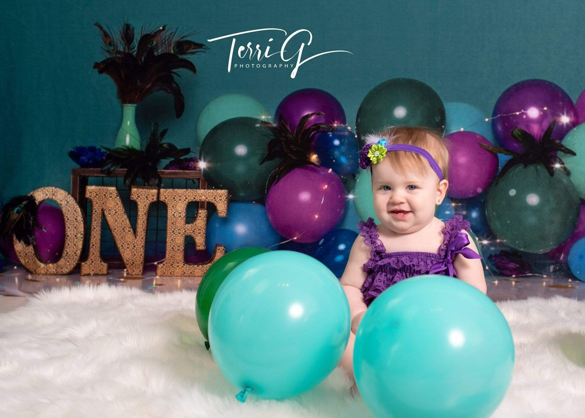 Load image into Gallery viewer, Katebackdrop£ºKate 1st Birthday with Balloons Backdrop for Photography Designed by Cassie Christiansen Photography