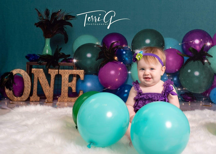 Katebackdrop£ºKate 1st Birthday with Balloons Backdrop for Photography Designed by Cassie Christiansen Photography