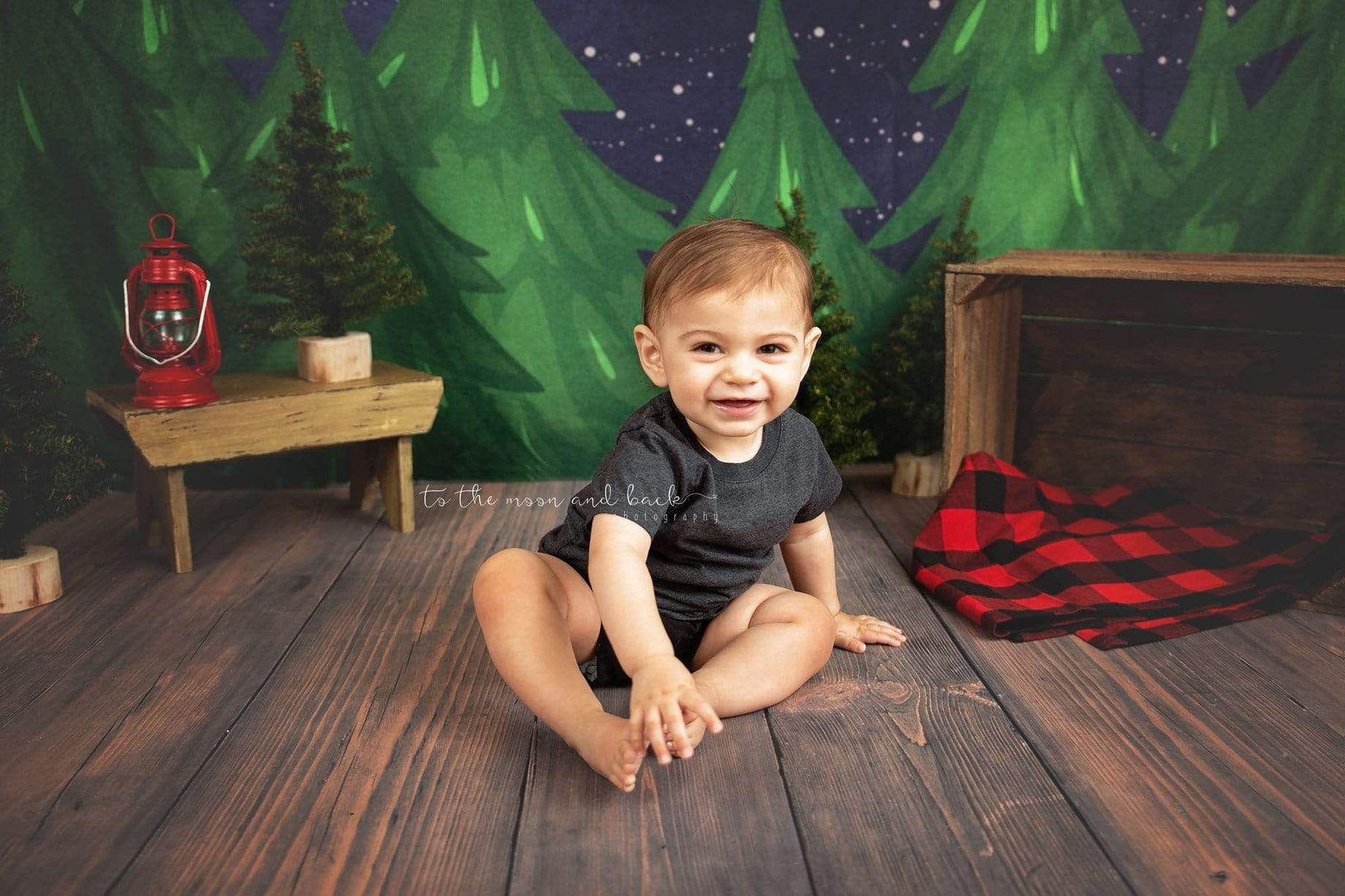 Load image into Gallery viewer, Katebackdrop£ºKate Christmas Farm Night with Moon Backdrop Designed By Jerry_Sina