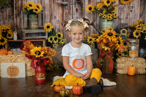 Kate Sunflower Gift Shop Wood Fall Backdrop Design by Shutter Swan Studios