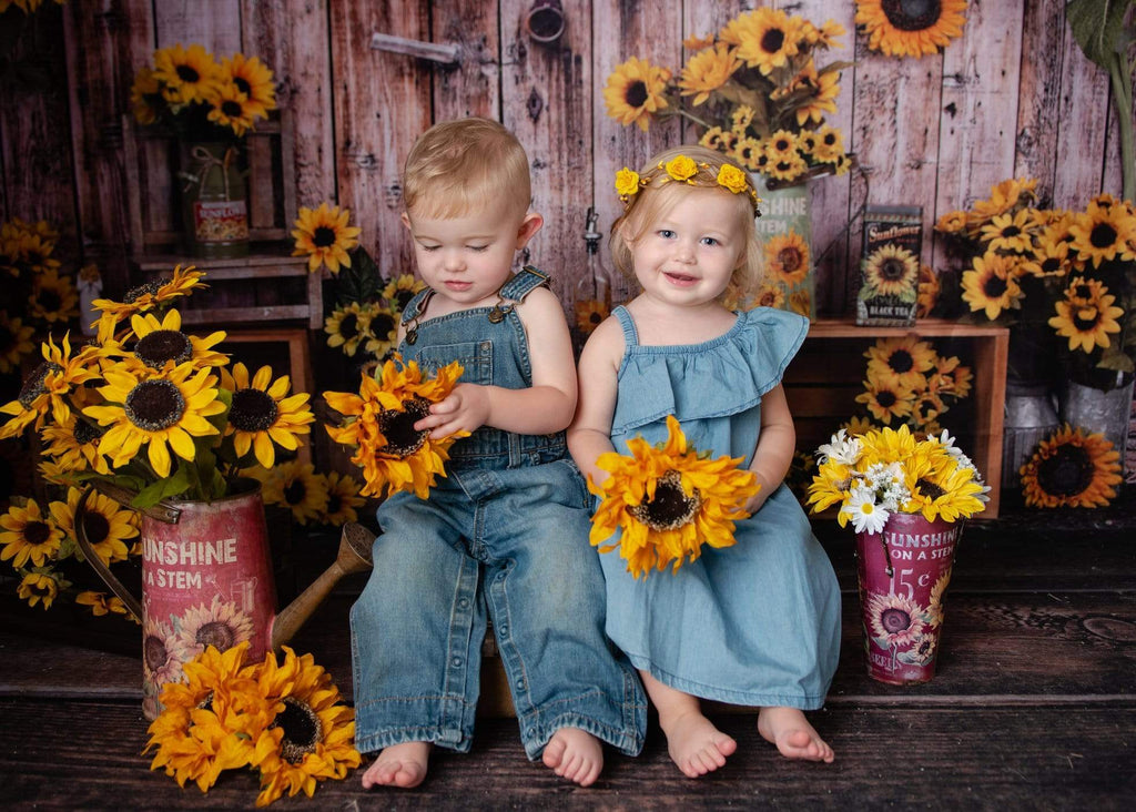 Katebackdrop£ºKate Sunflower Gift Shop Wood Fall Backdrop for Photography