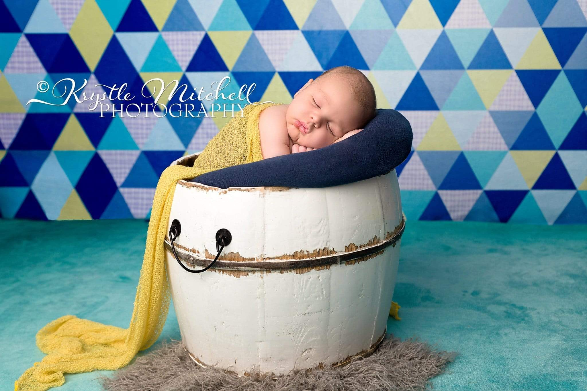 Load image into Gallery viewer, Katebackdrop£ºKate Blue Triangle Seamless Pattern Backdrop Designed By Krystle Mitchell Photography