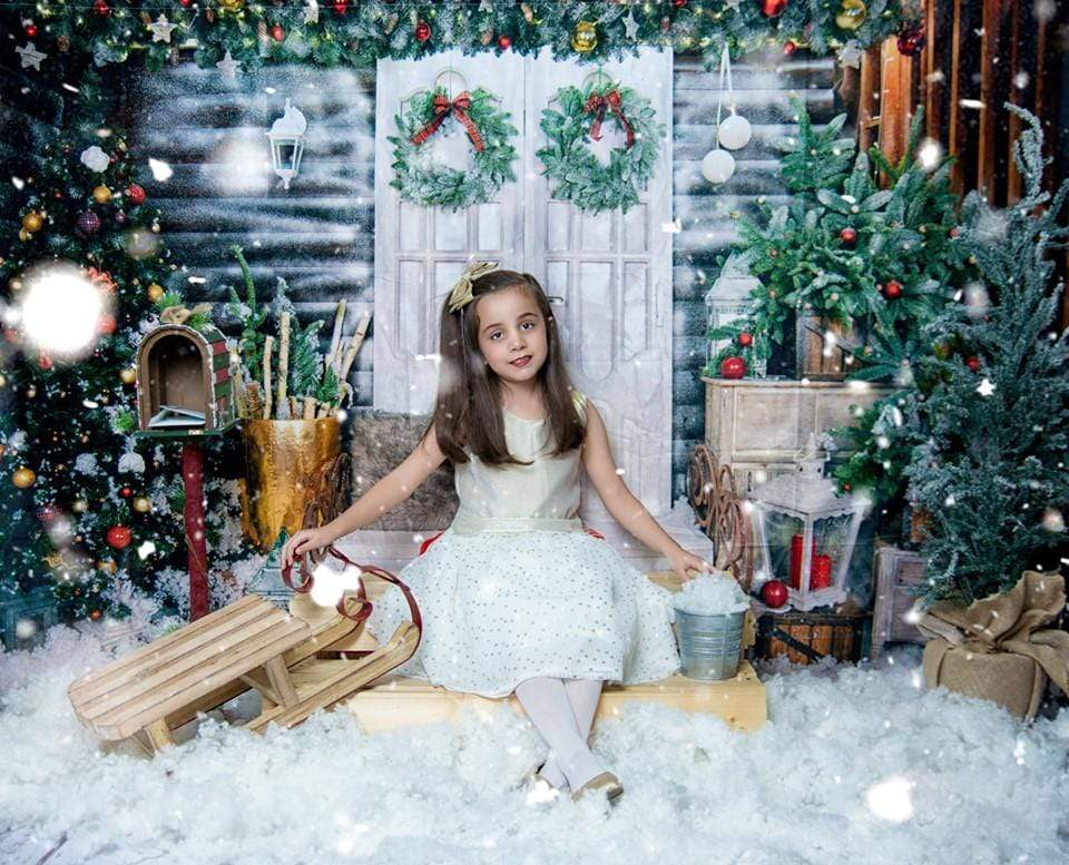 Katebackdrop:Kate Christmas Trees White Door Decorations  Backdrop for Photography