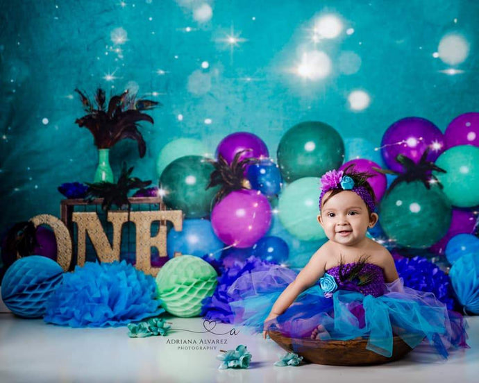Katebackdrop£ºKate 1st Birthday Balloons Bokeh Backdrop for Photography Designed by Cassie Christiansen Photography