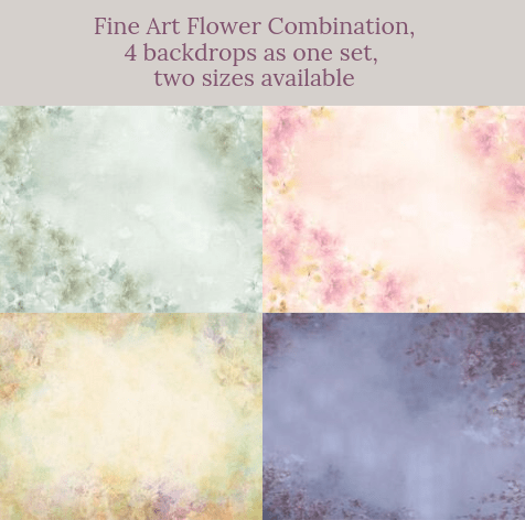 Katebackdrop:Fine Art Flower Combination Backdrops for Photography( 4 backdrops in total )