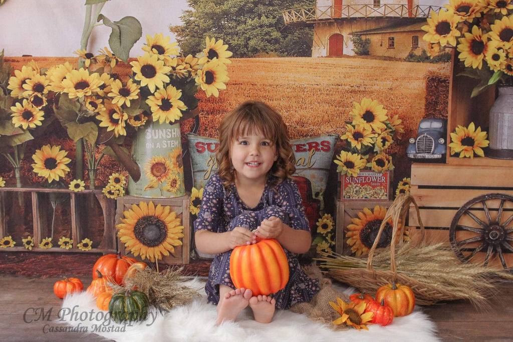 Katebackdrop£ºKate Sunflower Fall Farm Field Backdrop for Photography