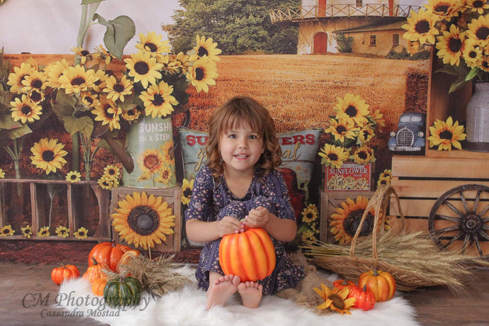 Kate Sunflower Fall Farm Field Backdrop for Photography