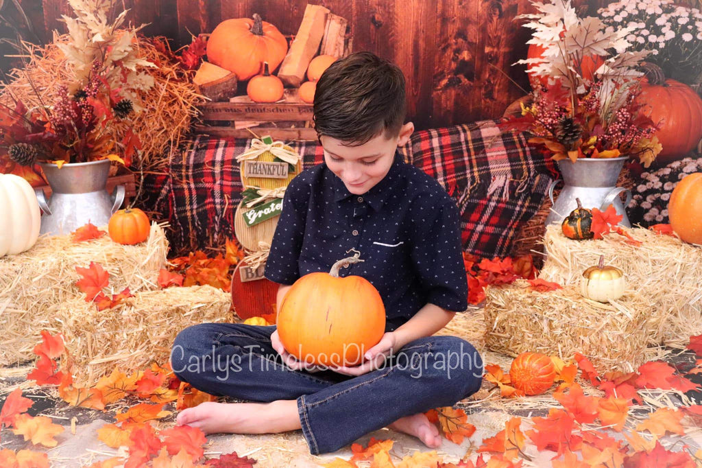 Kate Fall Pumpkin Straw Wood Daisy for Pictures