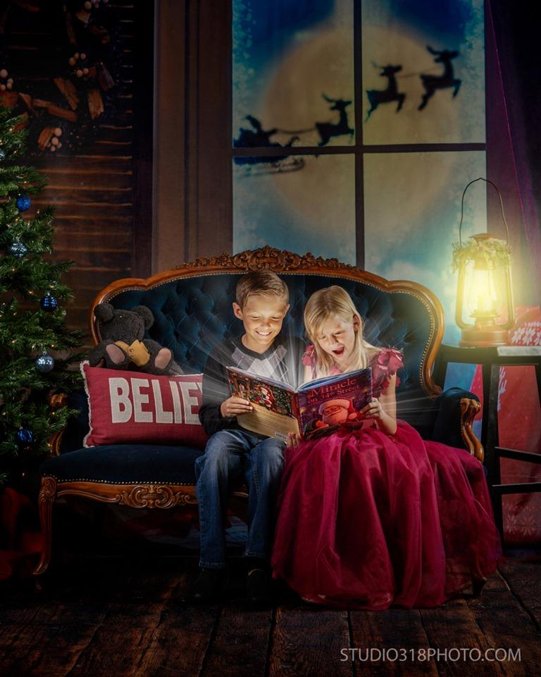 Katebackdrop:Kate Christmas Moon And Reindeer Outside Window Backdrops for Photography