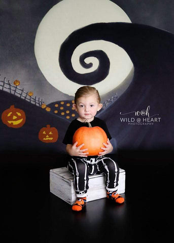 Kate Halloween Pumpkin Garden Backdrop for Photography Designed By Leann West
