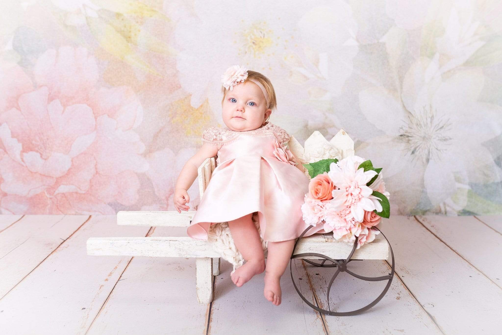 Load image into Gallery viewer, Kate Flowers Pastel Florals Backdrop for Photography Designed by Amanda Moffatt