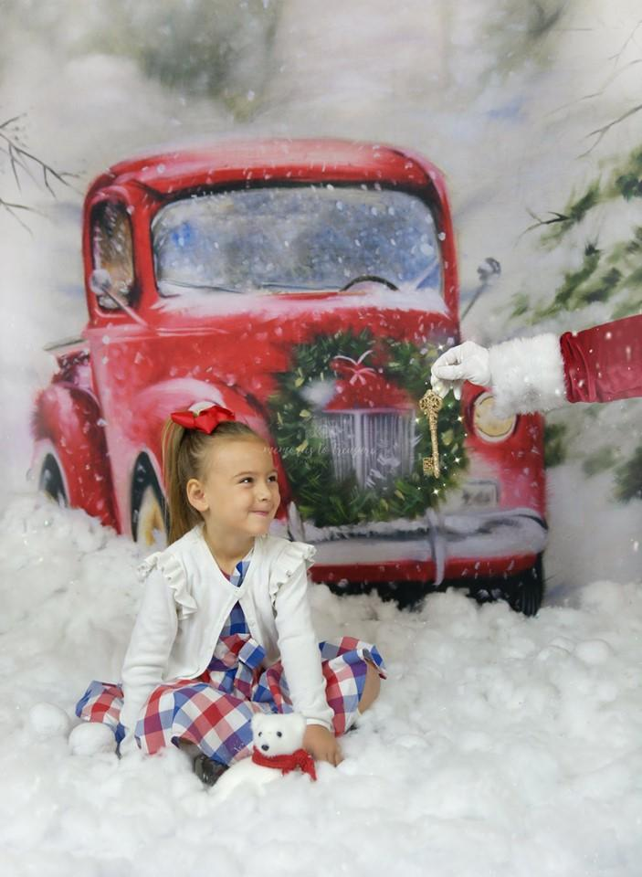 Katebackdrop£ºKate Christmas Snowy Red Car Backdrop for Photography