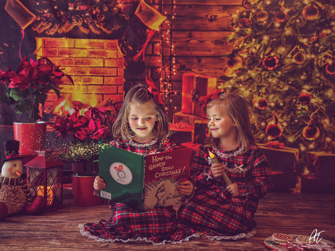 Katebackdrop£ºKate Christmas Tree Fireplace With Candle And Star for Photography