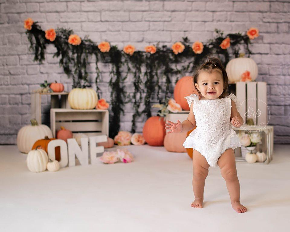 Load image into Gallery viewer, Katebackdrop:Kate Autumn Sweet as Pumpkin Pie Birthday Backdrops Designed by Arica Kirby
