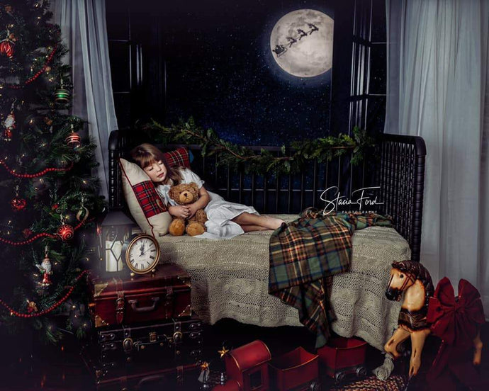 Katebackdrop:Kate Window Night with Moon and Star View Backdrop Designed By Jerry_Sina