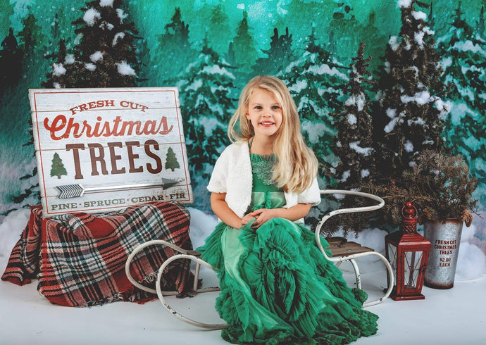 Kate Christmas Green Pine Trees Snow Farm Backdrop Designed By Jerry_Sina