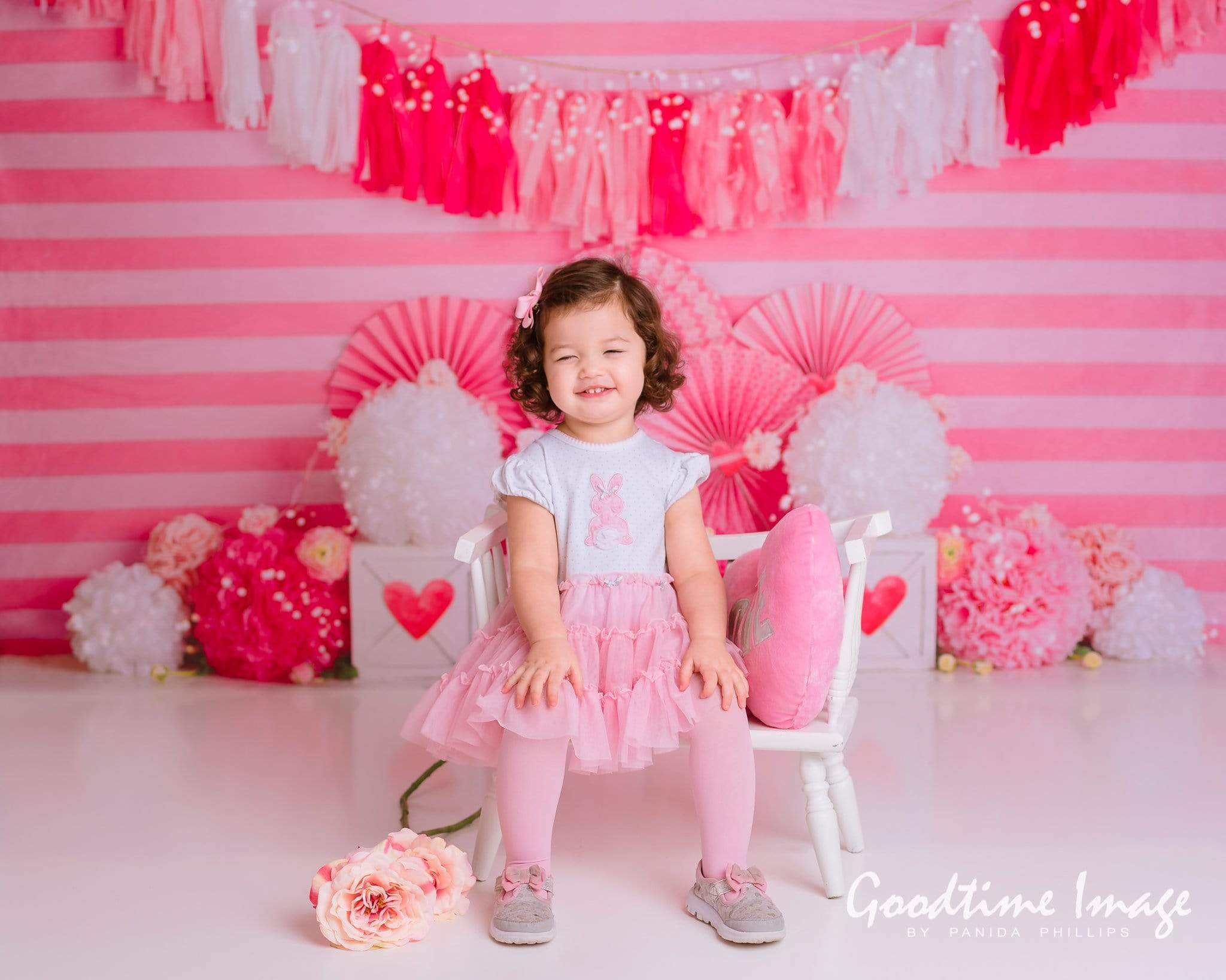 Load image into Gallery viewer, Kate Valentine's Day with Hearts and Stripes Backdrop Designed By Mandy Ringe Photography