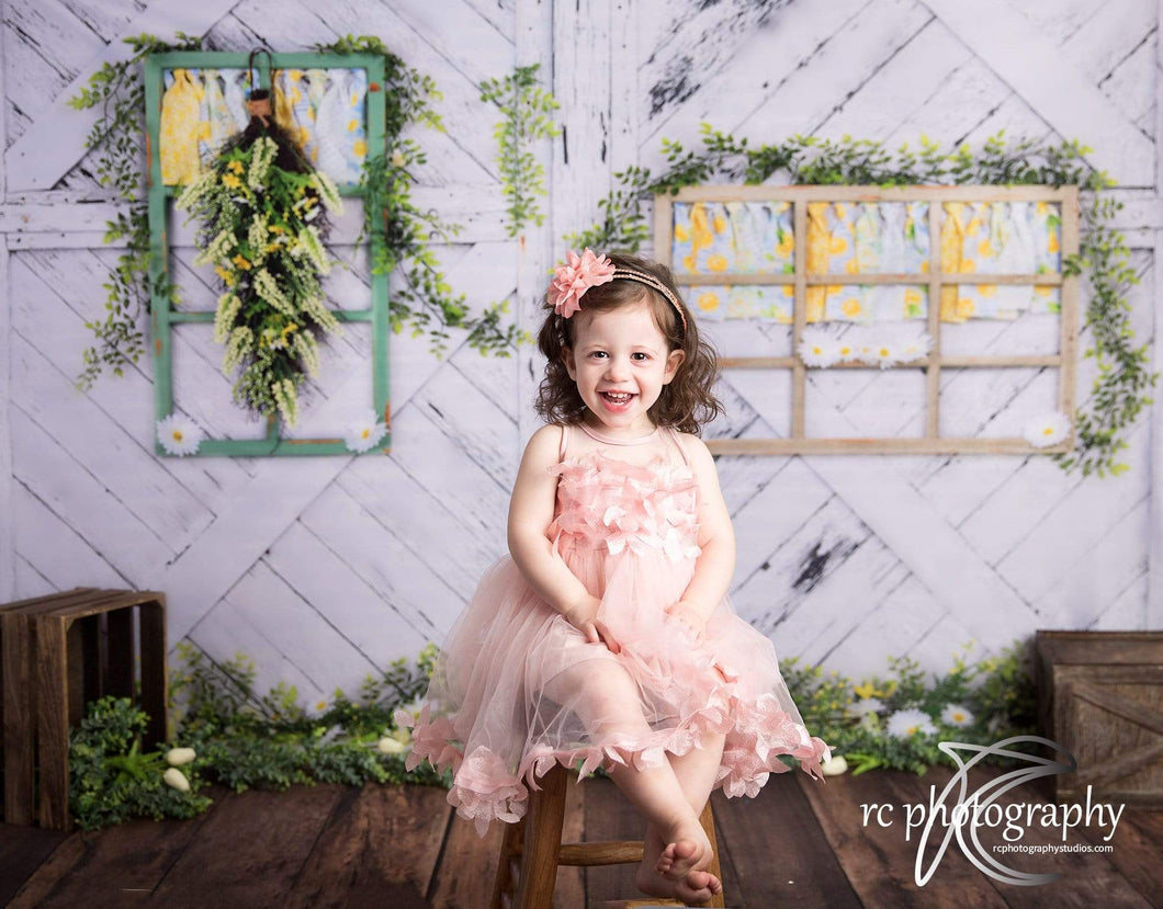 Katebackdrop:Kate Retro Wood Lemon color and Daisies  Spring Backdrop