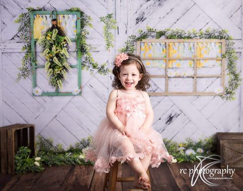 Kate Retro Wood Lemon color and Daisies  Spring Backdrop Design by Shutter Swan Studios