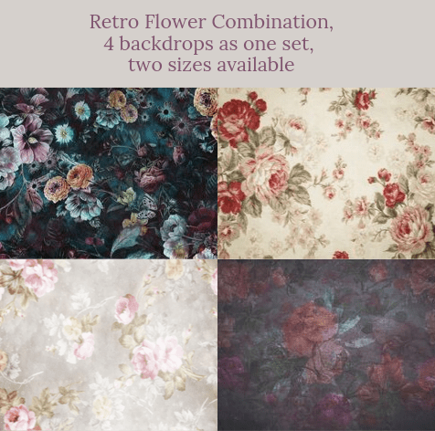 Katebackdrop:Retro Flower Combination Backdrops for Photography( 4 backdrops in total )
