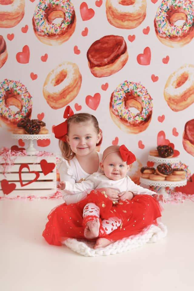 Load image into Gallery viewer, Katebackdrop:Kate Donuts Red Heart Children Backdrop for Photography