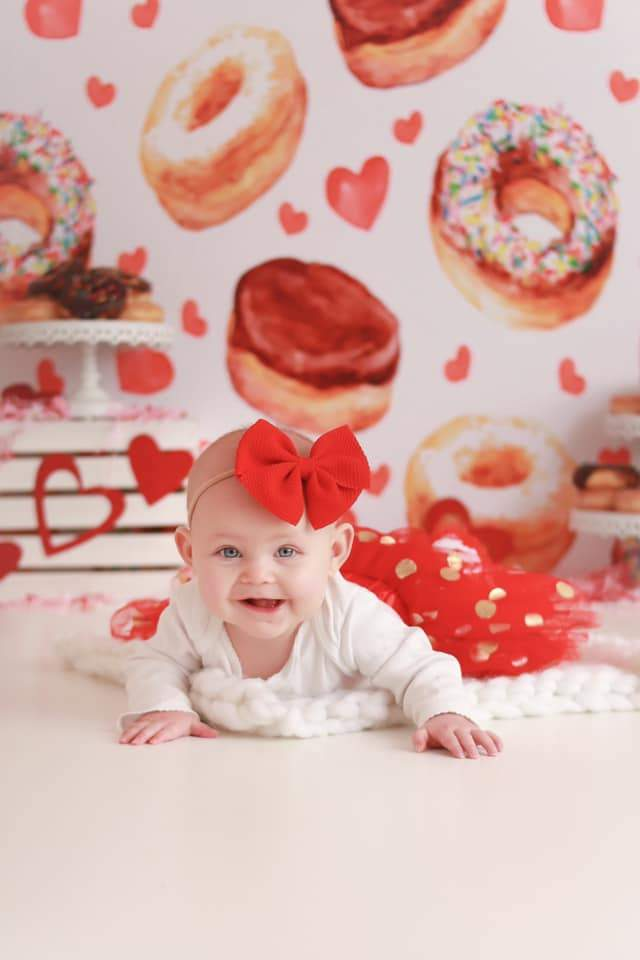 Katebackdrop:Kate Donuts Red Heart Children Backdrop for Photography