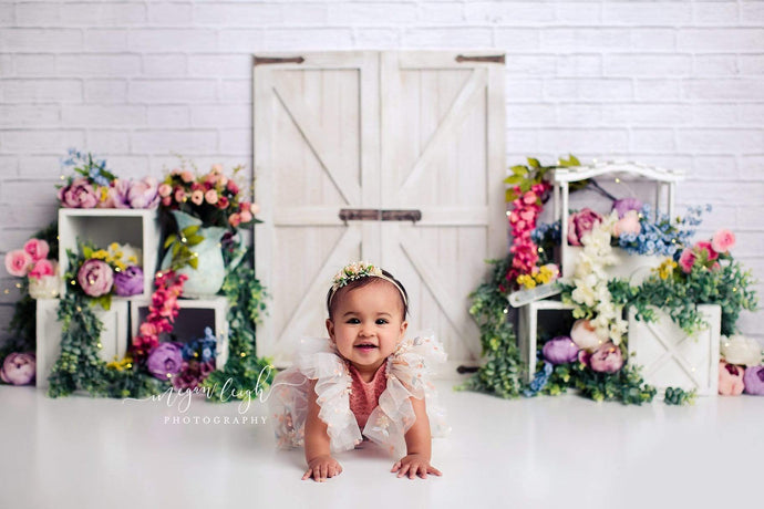 Katebackdrop:Kate Spring Colorful Flowers Barn Door Backdrop Designed by Megan Leigh Photography