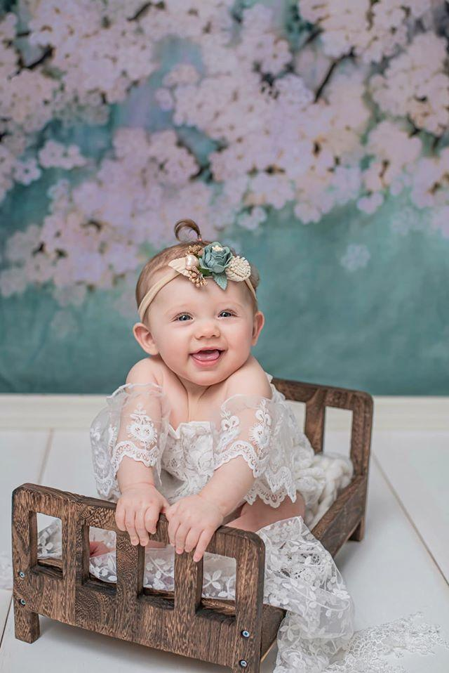 Load image into Gallery viewer, Kate Retro Style Green With White Flowers Backdrops for Children