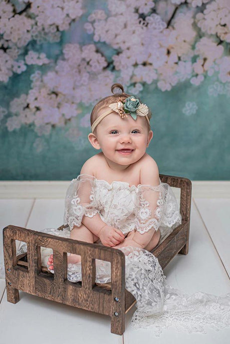 Katebackdrop:Kate Retro Style Green With White Florals Backdrops for Children