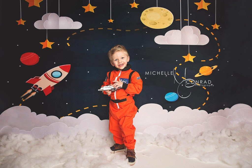 Katebackdrop£ºKate Space with Stars Moons Rocket Children Backdrop for Photography Designed by Amanda Moffatt