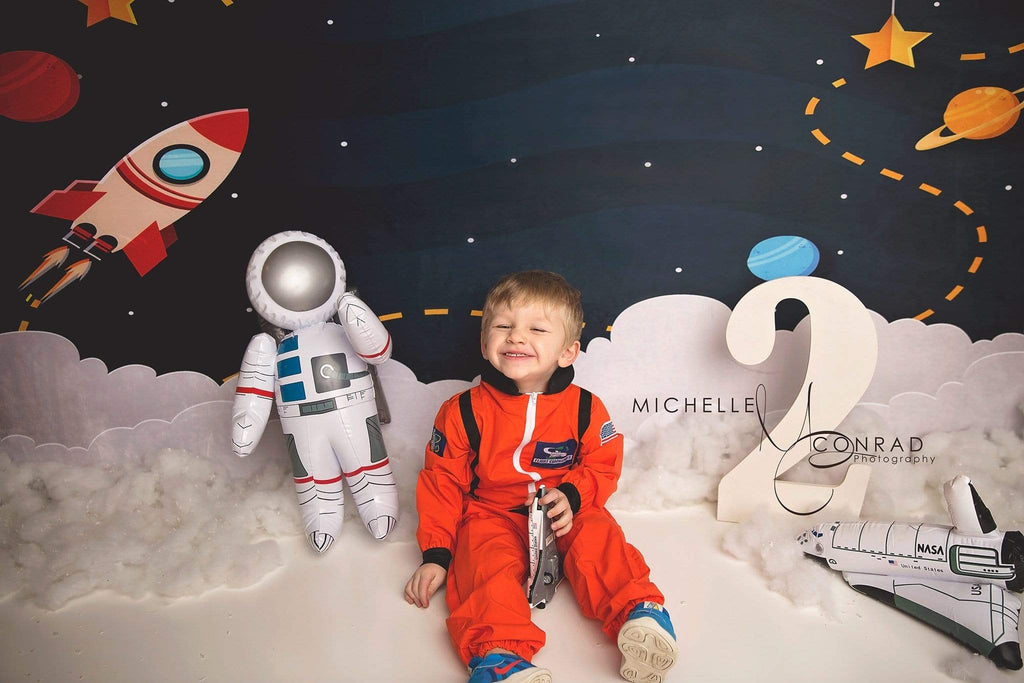 Katebackdrop:Kate Space with Stars Moons Rocket Children Backdrop for Photography Designed by Amanda Moffatt