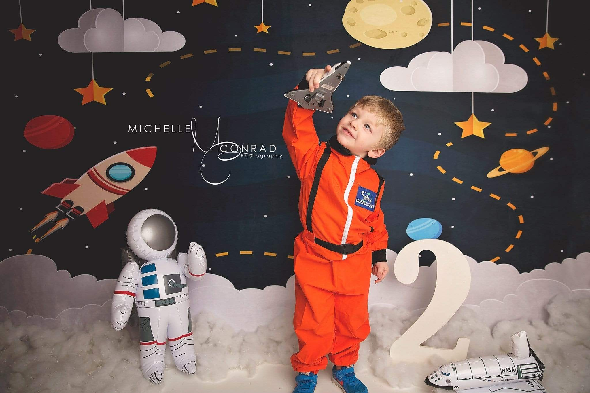 Load image into Gallery viewer, Katebackdrop£ºKate Space with Stars Moons Rocket Children Backdrop for Photography Designed by Amanda Moffatt