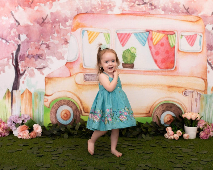 Katebackdrop£ºKate Summer Ice Cream Truck Watercolor Children Backdrop Designed By Pine Park Collection