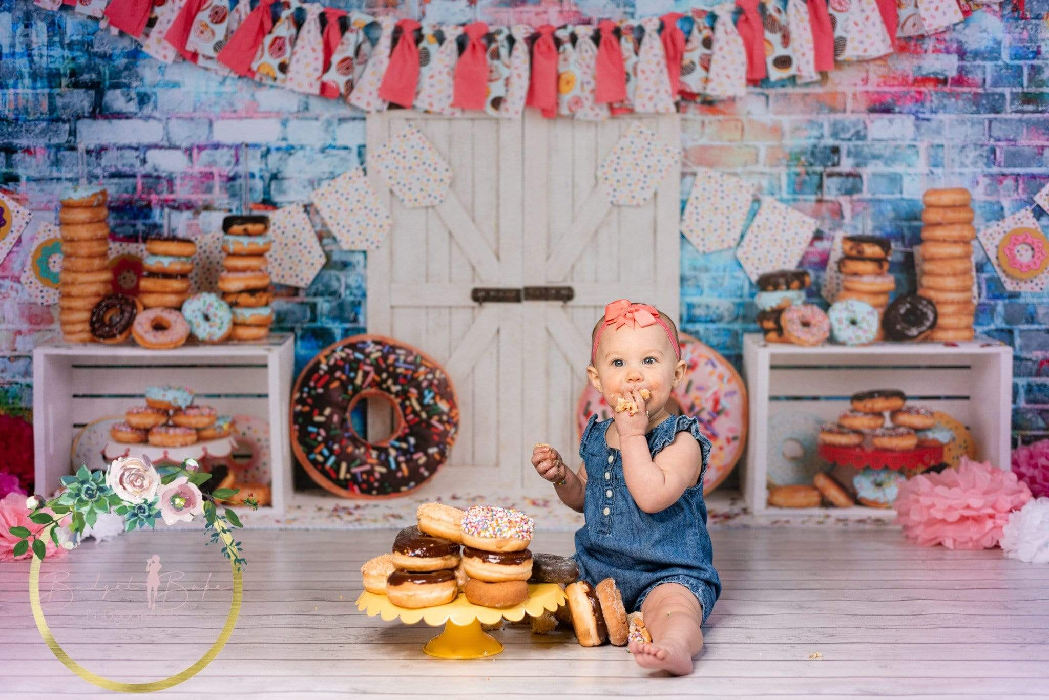 Load image into Gallery viewer, Katebackdrop:Kate Pink Banner Donut White Door Children Backdrop