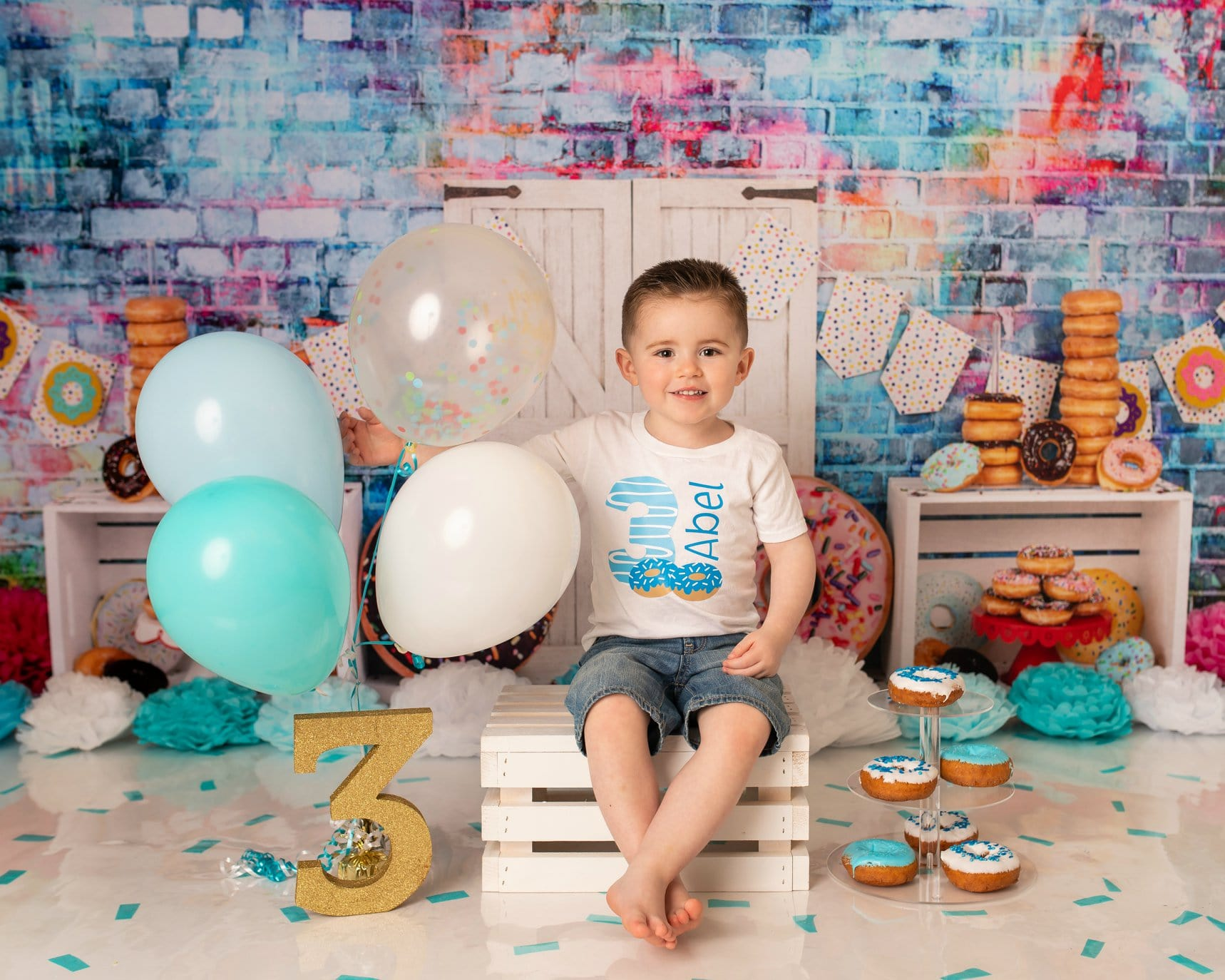 Load image into Gallery viewer, Kate Donut Banner White Door Children Backdrop