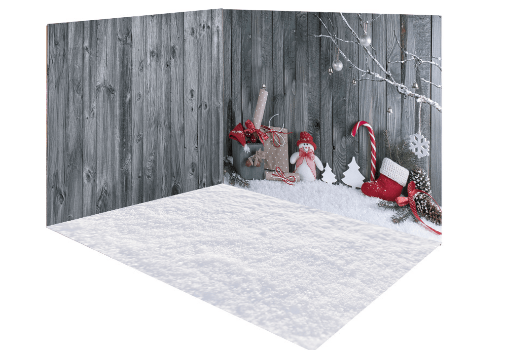 Katebackdrop£ºKate Christmas gray snow wood room set
