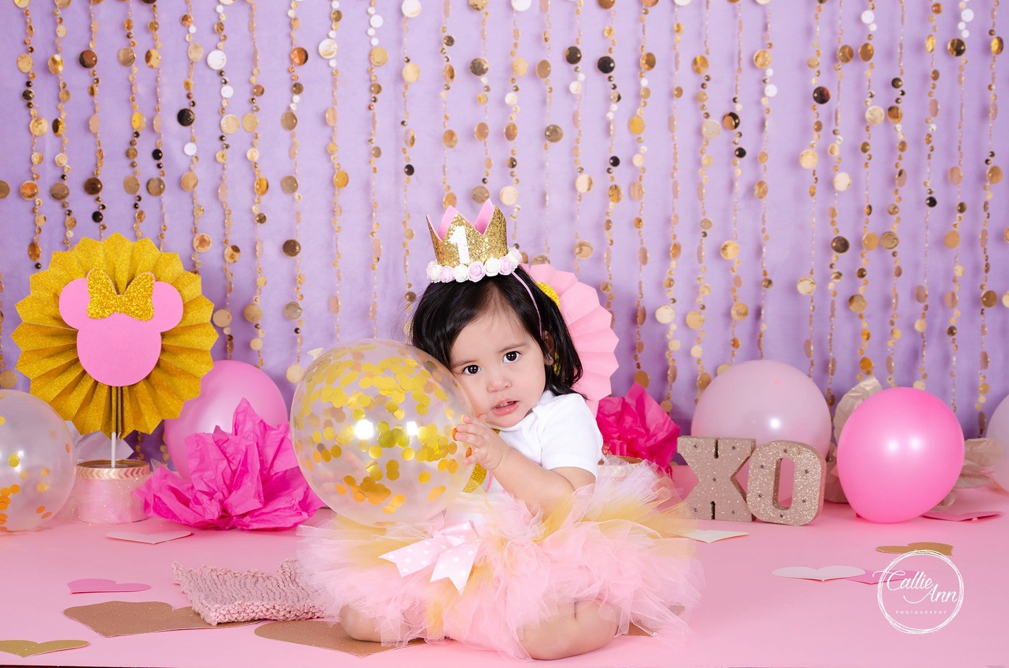 Load image into Gallery viewer, Kate Purple Gold Dots Children Backdrop for Photography Designed by Lisa B