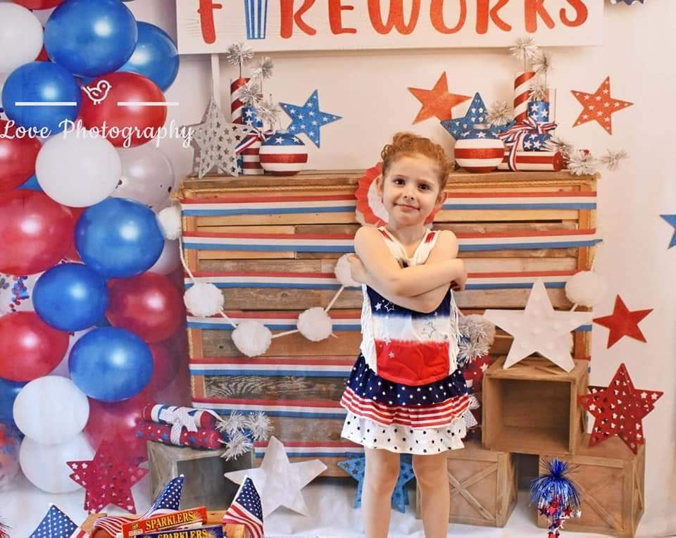 Load image into Gallery viewer, Kate 4th of July Fireworks Balloon Children Backdrop Designed by Lisa B