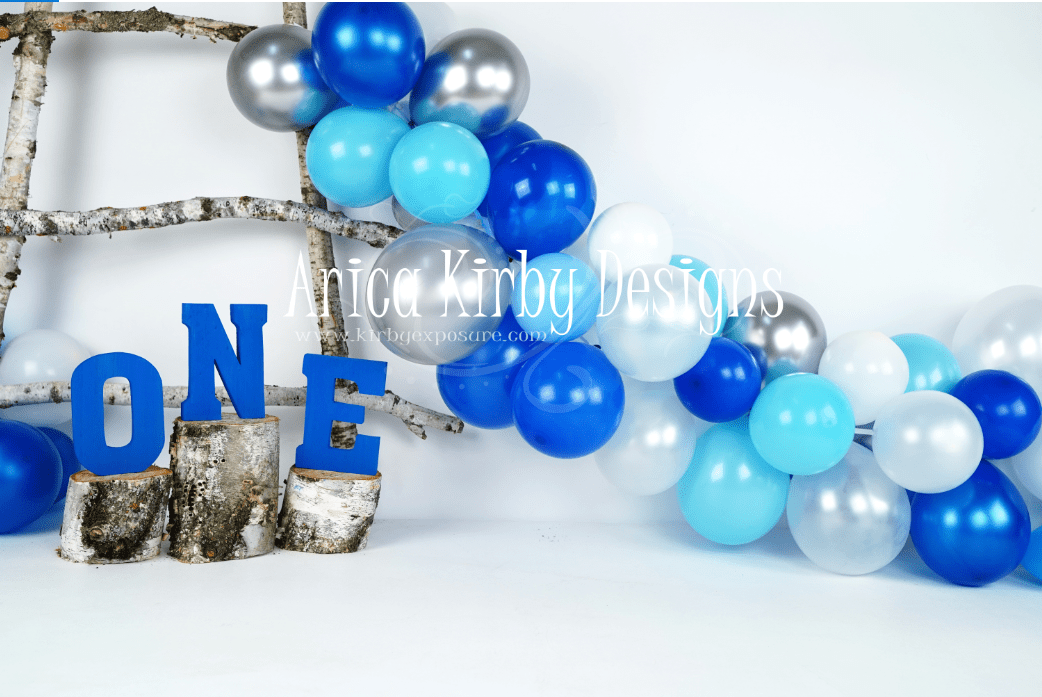 Load image into Gallery viewer, Katebackdrop£ºKate Birchy Blue Balloons First Birthday Backdrop Designed by Arica Kirby
